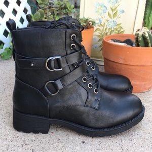 Shoes - BLACK COMBAT BUCKLE FAUX LEATHER BOOTS